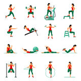 Aerobic icons. 4x4. full color Royalty Free Stock Photo
