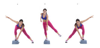 Aerobic Lateral jump on step Stock Photos