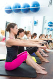 Aerobic Pilates personal trainer group class Stock Image