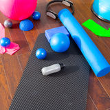 Aerobic Pilates stuff mat balls roller magic ring Stock Photos