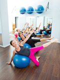 Aerobic Pilates women group with stability ball Stock Images