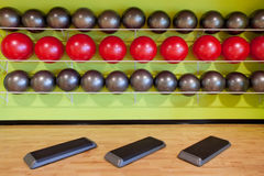 Aerobic steps in gym Stock Photo