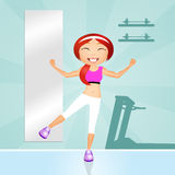 Aerobic workout. Funny illustration of girl in the gym Stock Photography