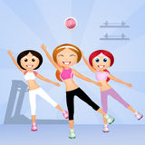 Aerobic workout. Illustration of exercises in the gym Stock Photography