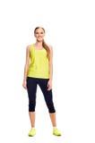 Aerobiceignungs-Frauenaufstellung Stockfoto