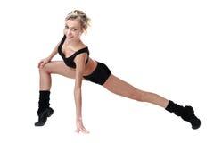 Aerobiceignungsfrauentrainieren lokalisiert im vollen Körper Lizenzfreies Stockfoto