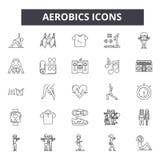 Aerobiclinie Ikonen Editable Anschlagzeichen Konzeptikonen: Turnhalle, Eignung, Training, Training, Übungsklasse, Körpersitz usw. stock abbildung