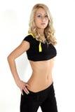 Aerobics. Young blond model exercising aerobics Stock Photography