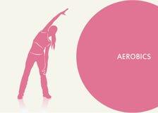 Aerobics background. Vector illustration of girl doing aerobics royalty free illustration