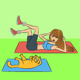 Aerobics with cat. Vector illustration Royalty Free Stock Photography