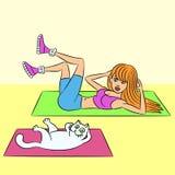 Aerobics with cat vector illustration Stock Image