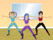 Aerobics class. Three women working out in an aerobics class stock illustration