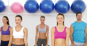 Aerobics class lifting dumbbells together Royalty Free Stock Photo