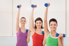 Aerobics class of women ligting weights. Stock Photo
