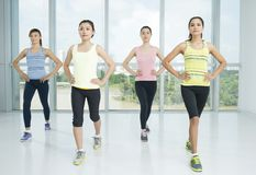 Aerobics exercises. A group of young women in the aerobics class royalty free stock images