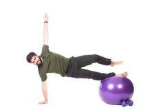 Aerobics on fitness ball Royalty Free Stock Photos