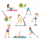 Aerobics fitness exercises. Dropping excess fat. Women work out in the fitness club. Aerobics fitness exercises. Dropping excess fat. Women work out in the Royalty Free Stock Image