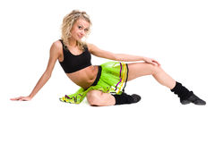 Aerobics fitness woman exercising isolated in full body. Royalty Free Stock Photography
