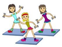 Aerobics girls. Group of three cute cartoon girls having an aerobics session stock illustration