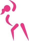 Aerobics icon. Abstract style pink stock illustration