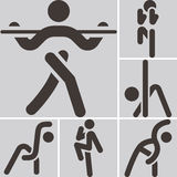 Aerobics icons set Royalty Free Stock Photography