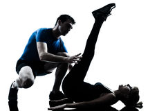 Aerobics intstructor  with mature woman exercising Royalty Free Stock Photo