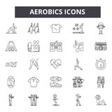 Aerobics line icons. Editable stroke signs. Concept icons: gym, fitness, workout, training, exercise class, body fit etc. Aerobics line icons. Editable stroke stock illustration