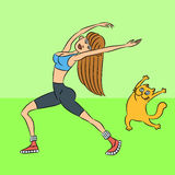 Aerobics med katten illustration Royaltyfri Foto