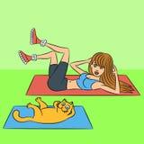 Aerobics med kattillustrationen Royaltyfri Fotografi