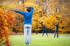 Aerobics in a park Royalty Free Stock Image