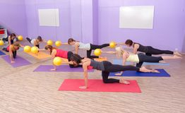Aerobics pilates class with yoga balls Stock Image