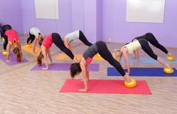 Aerobics pilates class with yoga balls Stock Photography
