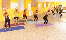 Aerobics pilates class with yoga balls. In a row on fitness class Royalty Free Stock Images