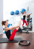 Aerobics pilates gym women group and crosstrainer Royalty Free Stock Photography