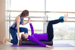 Aerobics Pilates personal trainer helping women Stock Image