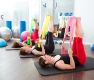 Aerobics Pilates Women With Rubber Bands In A Row Stock Photos