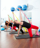 Aerobics Pilates Women With Rubber Bands In A Row Royalty Free Stock Image