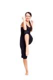 aerobics som gör den sportiga kvinnan för smiley Royaltyfria Foton