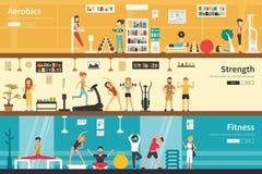 Aerobics Strength Fitness flat interior outdoor concept web Stock Images