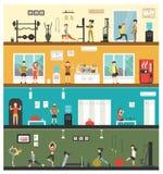 Aerobics Strength Fitness flat interior outdoor concept web - Illustration Stock Images