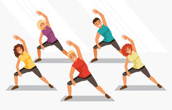 Aerobics. Vector illustration. Group of people is engaged in aerobics in the gym. Fitness and weight loss. Healthy lifestyle. Vector illustration stock illustration