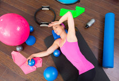 Aerobics Woman Tired Resting Lying On Mat Royalty Free Stock Image
