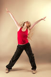 Aerobics zumba fitness woman. Zumba Fitness Female Instructor In Motion Raising Her Hands Stock Photos