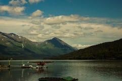 Aeroboat on lake in alaska. Waterplane on sea, aeroboat on lake in alaska Royalty Free Stock Images