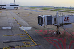 Aerobridge in airport plane parked Stock Photography