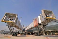 Aerobridge an Suvarnabhumi Flughafen, Thailand Stockbilder