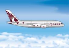 Aerobus A380, Katarskie linie lotnicze, linia lotnicza pasażera linia Zdjęcie Royalty Free