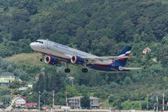 Aerobus A320 taking off. Adler, Russia, August 21, 2011 stock image