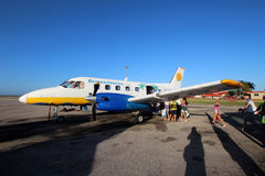 Aerocaribbean Airlines. VARADERO, CUBA - FEBRUARY 08: Embraer EMB-110 Aerocaribbean prepares to fly to Cayo Largo on February 08, 2014. Aerocaribbean Airlines Royalty Free Stock Images