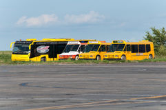 Aerodrome buses, Rostov-on-Don, Russia, July 15, 2015. The buses have been decommissioned and scrapped royalty free stock photography